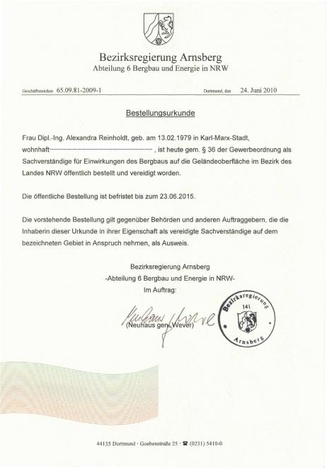 Bestellungsurkunde A. Reinholdt